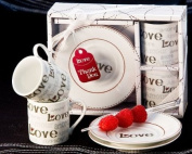 Language of Love Espresso Cup Favour Set - Wedding and Party Guest Keepsake Gift