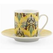 Flower & Bird Garden Espresso Cup & Saucer Demitasse set, Service for 6
