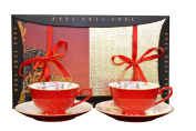 Auratic CP 4-pc 70306A-R Cup and Saucer Set, Red