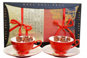 Auratic CP 4-pc S6828G-R Cup and Saucer Set, Red