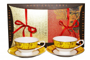 Auratic CP 4-pc Y06-156G-Yellow Cup and Saucer Set, Yellow