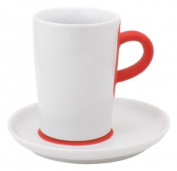 """touch! FIVE SENSES, """"Coffeemania touch!"""" coral red macchiato cup with saucer 350ml"""