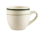 CAC China GS-35 6.4cm Greenbrier 100ml Green Band American Stoneware A.D. Cup, White, Box of 36