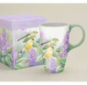 'Goldfinches & Lilacs' Latte Travel Mug by LANG with Artwork by Susan Bourdet