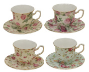 Gracie China Rose Chintz 90ml Porcelain Espresso Cup and Saucer with Gold Trim, Set of 4