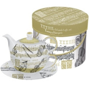 Paperproducts Design Concerto Tea for One Set, Includes Teapot, Cup and Saucer