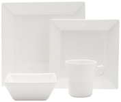 Fortessa Fortaluxe SuperWhite Vitrified China Plaza 4-Piece Place Setting, Service for 1