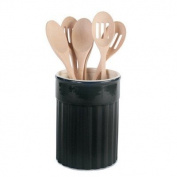 Omniware Simsbury Black Ceramic Kitchen Utensil Crock