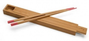 Bamboo Lightly Lacquered Box with Red Tipped Matching Chopsticks; 1 Box and 1 Pair of Chopsticks