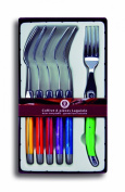 Coutellerie Tarrerias-Bonjean Set of 6 Laguiole Table Forks Mixed Colours in a Box