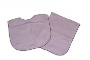 Blue and Chocolate Trimmed Bib and Burp Cloth