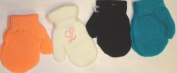 Set of Four Pairs of One Size Magic Stress Mittens for Infants Ages 0-1 Year with Customer Chosen Pink Monogram Letters for White