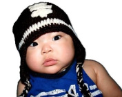 """Football (Touch Down) Beanie Dark Brown & White Baby Hat Photo Prop Crochet Baby Hat Gift for Boy & Girl by """"BubuBibi"""""""