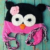 Crochet Owl Hat for Babies & Toddlers in Black & Pink