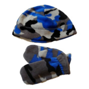 Faded Glory Toddler Boys Grey & Blue Cammo Beanie & Mittens Fleece Hat Set