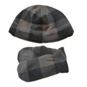 Faded Glory Toddler Boys Grey & Black Plaid Beanie & Mittens Fleece Hat Set