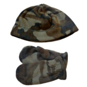 Faded Glory Toddler Boys Green Cammo Beanie & Mittens Fleece Hat Set