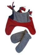 Faded Glory Toddler Boys Blue Grey & Red Fleece Trapper Hat & Mittens Set Joker