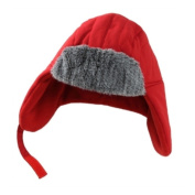 ABC Toddler Boys Red Trapper Hat with Fur Trim aviator