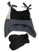 Faded Glory Toddler Boys Black & Grey Fleece Trapper Hat & Mittens Set Joker