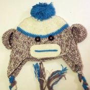 Crochet Baby blue sock monkey Hat in spring colour 3-8 year old child - made with NEW Milk protein cotton yarn - ready to ship