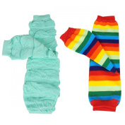 Wrapables Colourful Baby Leg Warmers (Set of 2) - Rainbow Ruched