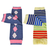 Wrapables Colourful Baby Leg Warmers (Set of 2) - Argyle & Rainbow