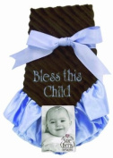 Sue Berk Designs Plush Soft Blankie, Blue Embroidered with Bless This Child