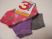 Max Grey Kid's Socks 3 Pair ~ Size 4-6, Solid Grey, Solid Violet, Pink with Hearts
