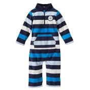 Carter's Infant Long Sleeve One Piece Fleece Coverall - Blue Stripes-18 Months