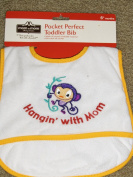"""Pocket Perfect Toddler/Baby Bib Catch-all-pocket Monkey Applique """"Hangin' with Mom"""""""
