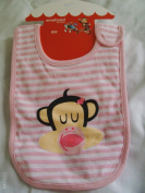 small paul Girls' Stripe/Ribbon Pink Bib with hook and loop Closure