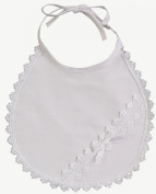 White Cotton Laced Christening Baptism Bib