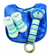Stephan Baby Ultra Soft Plush Chewbie Squeaker Rattle, Bootie Socks and Reversible Bib Gift Set, Bear, 3-12 Months