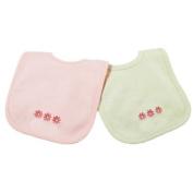 Princess Linens Cotton Knit Bib Set with Daisy Motif, Pink/Sage