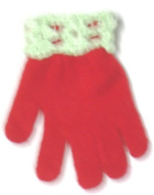 One Size Red Magic Gloves Trimmed with White Chenille Cuff for Ages 0-3 Years