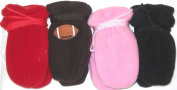 4fmg2.051, Set of Four Pairs (black,red,pink,and brown) One Size Mongolian Fleece Mittens for Infants Ages 0-6 Months