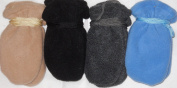 4fmg2.047, Set of Four Pairs (black, grey,tan, and baby blue) One Size Mongolian Fleece Mittens for Infants Ages 0-6 Months