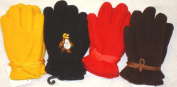 Set of Four One Size Fine Mongolian Fleece Microfiber Lined Very Warm Gloves for Infants and Toddlers Ages 0-12 Months
