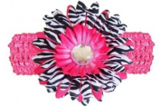 Hot Pink Black White Zebra Jewel Gerbera Daisy Flower Pink Crochet Headband Gerber - Girls Child Baby Toddler Apparel Head Hair Band Bow Bows Girl Soft Infant Youth Accessory
