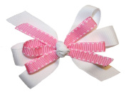 Girls New Pink & White GrosGrain Hair Bow on Alligator Clip