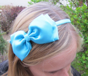 A Girl Company Satin Turquoise Headband with attached Layered Hair Bow