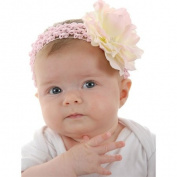 Pink crochet headbands for girls with big pink silk flower, unique gifts for kids