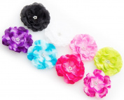 Ema Jane -Shimmery Chiffon Laced Diamond Jewelled Centre Flower Hair Clips