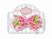 Pink Party Celebration Bow on Crochet Headband