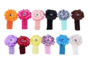 Bundle Monster 24-Piece Daisy Flower Clip Crocheted Baby Headbands / Hair Clips Mixed Colour Lot for Girls - Fits 0 to 5yrs Toddler