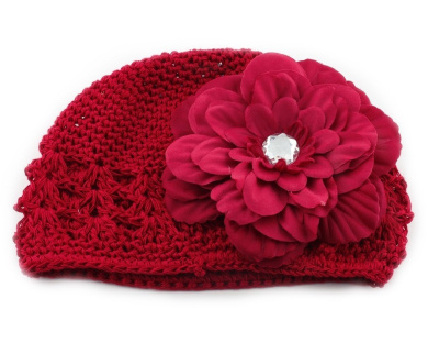 Red Peony Hair Big Flower Clip + Crochet Cap Hat for Baby Todder Girl boy