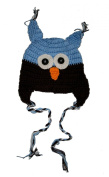 """BLUE & BROWN OWL Baby Hat Photo Prop Crochet Baby Hat Gift for Boy & Girl (Hand Made) by """"BubuBibi"""""""