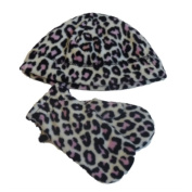 Faded Glory Infant & Toddler Girls Pink Leopard Fleece Beanie & Mittens Hat Set