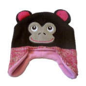 Cosy Creatures Toddler Girls Knit Trapper Style Monkey Hat Fleece Lined